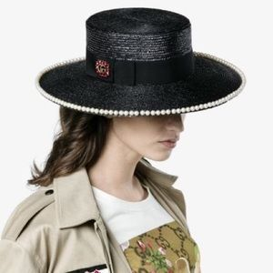 ❤️GUCCI❤️NEW❤️Notte embellished straw hat in black